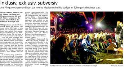 Tagblatt Ankündigung 2012